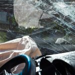 Picture of shattered car windshield