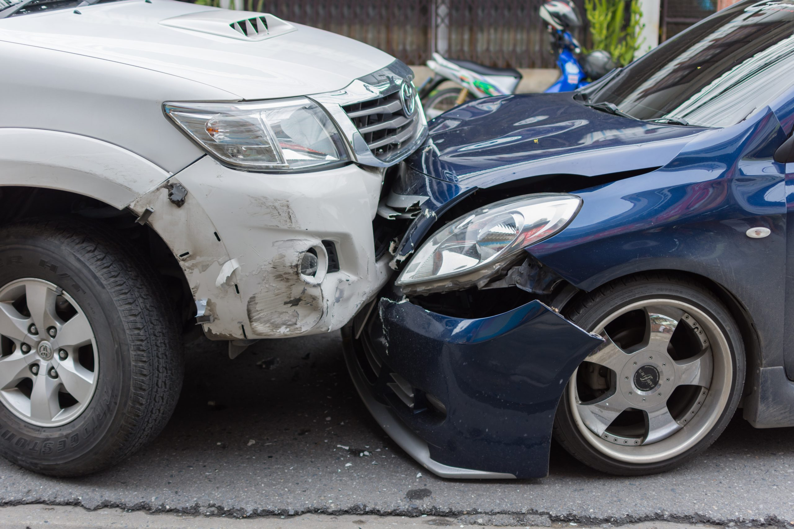 Head-on car accident
